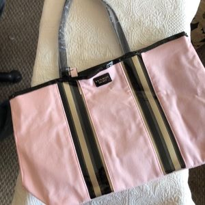 Victoria Secret Pink and Black Canvas Tote